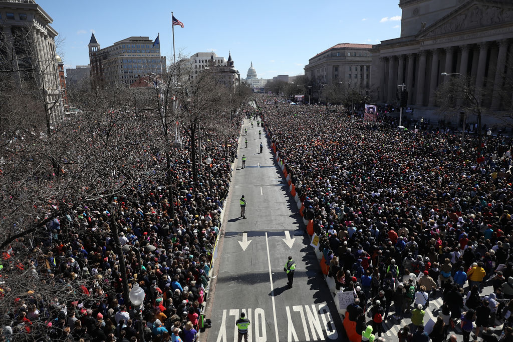 WASHINGTON, DC - MARCH 24:  Gun reform advocates line Pennsylvania Avenue while attending the March for Our Lives rally March 24,